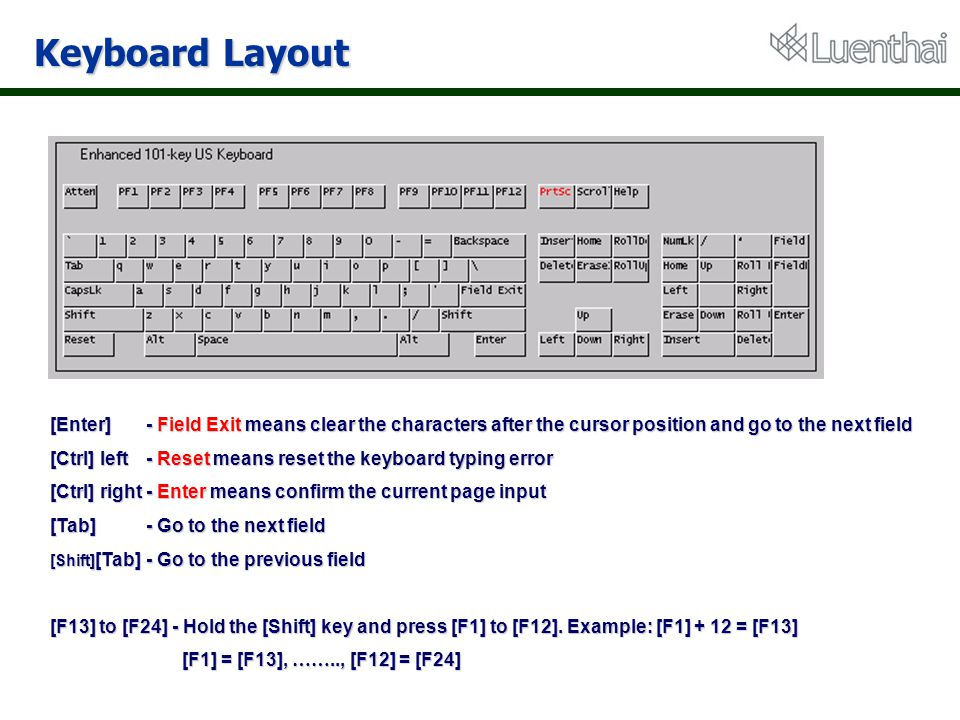 Keyboard Layout [Enter] - Field Exit means clear the characters after the cursor position and go to the next field.